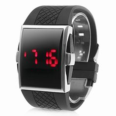 Square Silver Dial Black Silicone Band LED Wrist Watch – USD $ 4.60