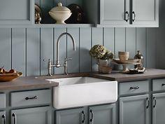 "KOHLER | K-6487-0 | Whitehaven® Self-Trimming® 29-11/16"" x 21-9/16"" x 9-5/8"" under-mount single-bowl kitchen sink with tall apron"