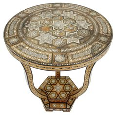 19th Century Syrian Inlaid Table on Tripod Base | From a unique collection of antique and modern end tables at http://www.1stdibs.com/furniture/tables/end-tables/
