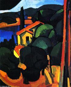 'Landschaft bei Cassis', öl auf leinwand von André Derain (1880-1954, France)