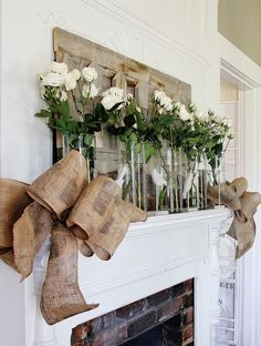 How To Make a Burlap Bow- love the display on the mantle paired with bows
