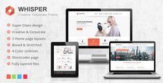 Whisper - Creative Corporate Theme   http://themeforest.net/item/whisper-creative-corporate-theme/3917000?ref=damiamio               HTML Version is out. Check it out here – here  Whisper is perfectly clean, but still creative theme. It comes with few Home page options – more creative and more corporate look. There are four color schemes included so you can easily adjust the theme according to your brand identity. Whisper comes with boxed and stretched version to provide more customization…