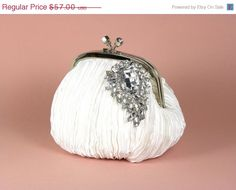 Wedding Clutch Bridal Purse White Bridal by WhiteAisleBoutique, $45.60