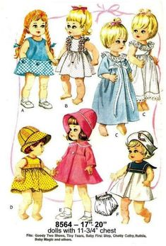 Baby Doll Clothes, Doll Clothes Patterns, Vintage Sewing Patterns, Doll Patterns, Clothing Patterns, Toddler Dolls, Baby Dolls, Chatty Cathy Doll, Doll Wardrobe