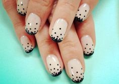 2 cute - nail art idea- nude nails with dotted black tips, short nails