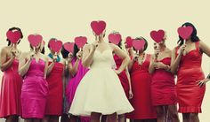 pink and red bridesmaid dresses, inspired by Valentine's day! ♥