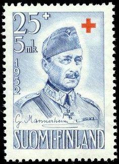 Punainen Risti 1952 - 3/3 C. G. E. Mannerheim, sin. 25+5mk - Sulje napsauttamalla kuvaa
