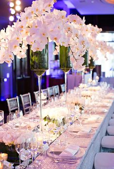 Long mirrored table with white orchids and peonies orchid centerpieces, white orchid centerpiece, floral White Orchid Centerpiece, Orchid Centerpieces, Floral Centrepieces, July Wedding, Mod Wedding, Dream Wedding, Wedding Reception, Luxury Wedding, Autumn Wedding