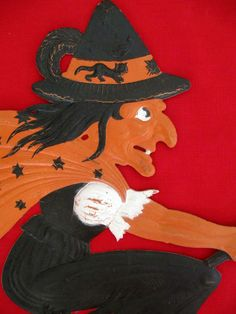 Large Vintage 1920's Halloween Witch Die Cut Decoration~Marked Germany~