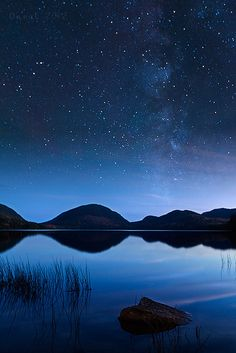 Eagle Lake, Acadia National Park, Maine. Such a beautiful pic!  Starry sky above the sea below.