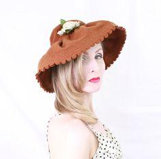 1930s Hat / VINTAGE / Wide Brim / 30s Hat / Brown / Felted Wool / Rose / RARE