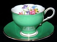 Paragon Tea Cup and Saucer Lime Green & Pink Rose Floral Center Corset Shape