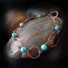 Rustic Turquoise and Copper Bracelet - Wire Wrapped Jewelry Handmade - Hammered Copper Hoop Bracelet - Antiqued Copper - TURQUOISE DREAM
