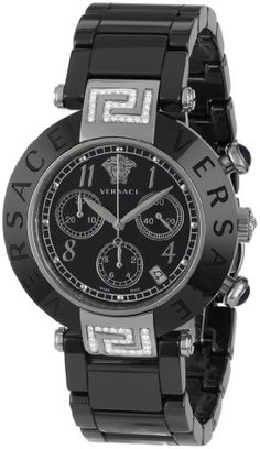 Versace Women's Reve Black Ceramic Chronograph Diamond Watch
