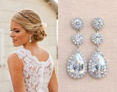 Chandelier Bridal Earrings Crystal Wedding by nefertitijewelry2009