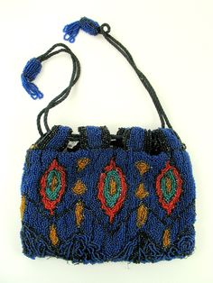 beaded bags | Vintage Art Deco Hand Beaded Bag Royal Blue Peacock Feather Pattern