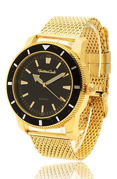 Men s Gold Mesh Bracelet Hip Hop Watch by King Ice ea5bdb409f6