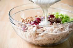 Skinny Chicken Salad / shredded chicken, ½ cup plain, non-fat Greek yogurt ¼ cup light mayonnaise 2 tablespoons apple cider vinegar 2 tablespoons honey ½ teaspoon salt ¼ teaspoon black pepper 1 cup red seedless grapes, cut in half lengthwise (20 grapes)
