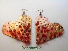 Hearts in red Love and passion Daphnofila earrings Handmade