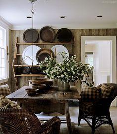 checks add pattern to this neutral rustic diningroom ~ Nancy Braithwaite design