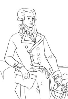 Marquis de Lafayette coloring page from American Revolutionary War category.