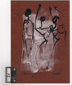 3 Frauen auf Registerkarte Original Sonja Zeltner-Müller 21x15cm portofrei für D
