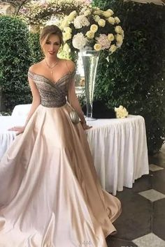 Off the Shoulder Champagne Long Prom Dresses Evening Dresses for Women with Beaded
