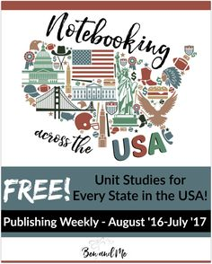 Free Unit Studies For All 50 States Notebooking Across The Usa Beginning In August 2016 Your Homeschool Students Grades 3 8 Can Notebook Across The Usa With These States Unit Studies Us Geography, Geography Activities, Teaching Geography, Learning Activities, Teaching Kids, Teaching Social Studies, Home Schooling, Homeschool Curriculum, Unit Studies