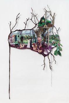 So Many Hopes , Sophia Narrett, 2016-17, Embroidery Thread, Aluminum, and Fabric, 33 x 53 in
