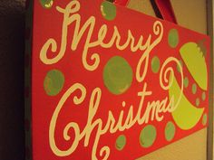 Hand Painted Merry Christmas Canvas- Ready to Ship