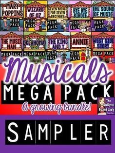 Everyone loves a musical! Check out this sampler from my Musicals MEGA Bundle. Youll get 7 different worksheets from 7 different musicals included in this bundle. Each worksheet is representative of one of the activities that is included in every set.The bundle contains more than 470 pages and is STILL growing!You might also like:Wizard of Oz Mega Pack of ActivitiesOklahoma Mega Pack of ActivitiesSeven Brides for Seven Brothers Mega Pack of ActivitiesThe Sound of Music Mega Pack of Activi...