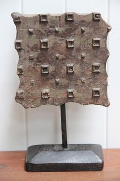 Old Wooden Printing Block on Iron Stand #5 - from the Aziza Designs online store