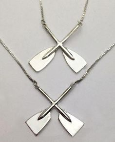 Lgu Sterling Silver Oxidized 3D Paddle Rowing Crew Sport Pendant with Polished Box Chain Necklace