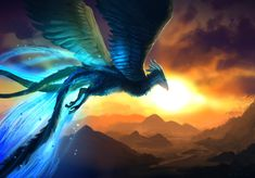 A painting done for The Premier League announcement. I just realised it looks like articuno from pokemon (after many people mentioned it >. Flight of the Phoenix Amazing Beasts, Fantastic Beasts And Where, Mythical Dragons, Phoenix Art, Phoenix Drawing, Mythical Creatures Art, Fire Art, Dragon Art, Beautiful Creatures