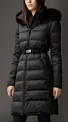 Fur Trim Technical Satin Puffer Coat | Burberry