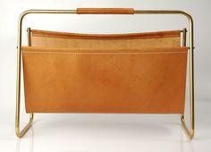Vintage Carl Aubock Leather & Metal Magazine Holder #brass - Eames Era Design
