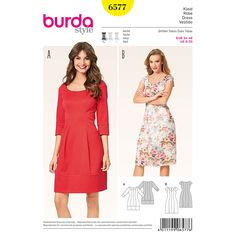 The panel seams and heart-shaped neckline on this dress are enchanting. Our dress is sculpted to fit your figure on top and widens at the waist to create an appealing hourglass shape. A Burda Style sewing pattern.