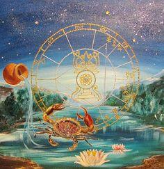 A birth chart painting Sun in Cancer, Aquarius rising 2014