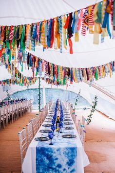 seehawer wedding ❤ festival wedding with rag bunting and tie-dye table spreads Care label package fo Festival Themed Wedding, Festival Party, Festival Celebration, Summer Wedding, Diy Wedding, Dream Wedding, Wedding Bunting, Party Bunting, Fiesta Flower Power