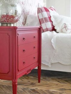 cottage style red dresser and bed with red accents Bedroom Red, Home Bedroom, Bedroom Decor, Red And White Bedroom Furniture, Red Bedrooms, Cottage Furniture, Red Dresser, Red Nightstand, Bedside Chest
