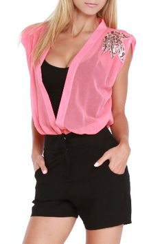 Pink and Black Low Cut Romper