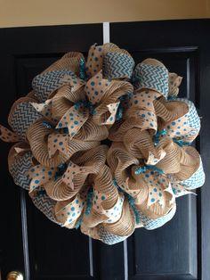 #Burlap wreath! #chevron