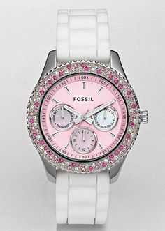 Fossil ES 2895 Stella Watch White Band Pink Face Multi Pink Bling Bezel | eBay