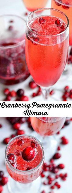 Cranberry Pomegranate Champagne Cocktail | from willcookforsmiles.com