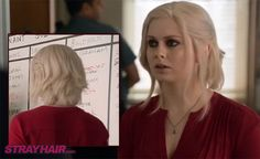 iZombie white hair Rose Mclver front and back hairstyle. I like the overall shape of this cut and the disheveled nature of it.