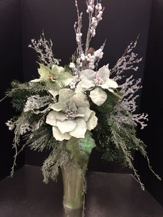 Cool iced celadon custom floral by Andrea for Michaels Round Rock Christmas Wedding Flowers, Christmas Vases, Christmas Tree Wreath, Christmas Design, Christmas Projects, Winter Floral Arrangements, Church Flower Arrangements, Christmas Arrangements, Christmas Table Centerpieces