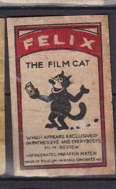 AE Old Matchbox label Belgium AKK11 The FIlm Cat Felix