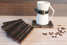 Unique Coasters Set of 4 pallet coaster mini by SurroundYourselfSY