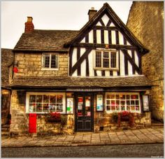 Painswick Post Office built in 1478, Cotswolds, UK