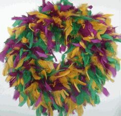 mardi gras feather boa wreath